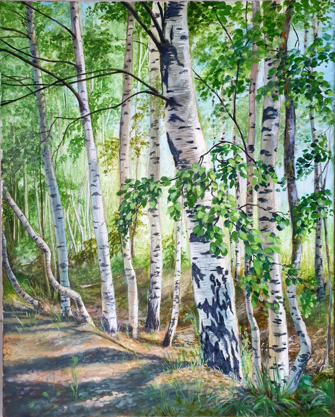 Olga Sergeevna Shevchenko. Summer. Morning in a birch forest