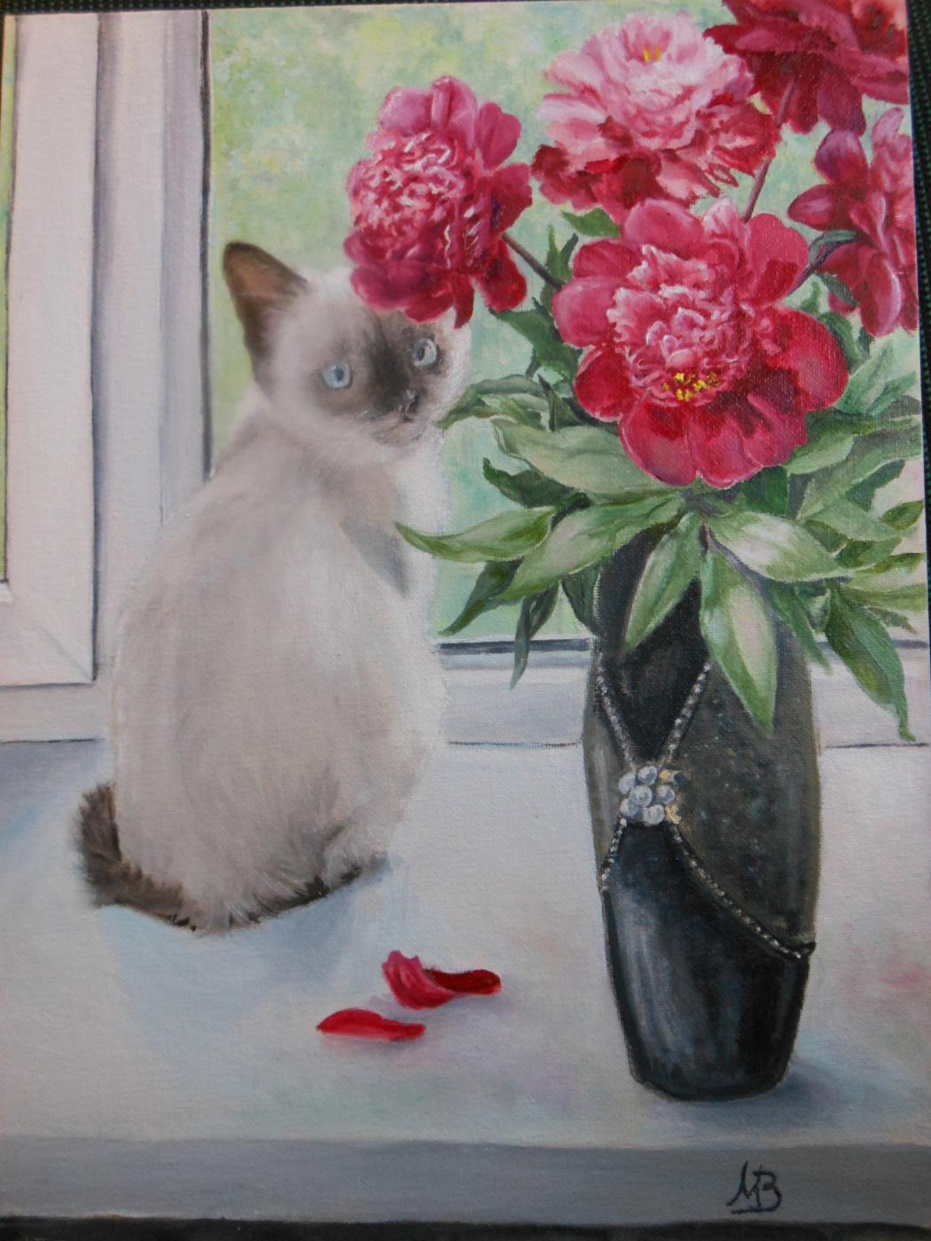 Marina Zaichenko. The cat is sitting on the window