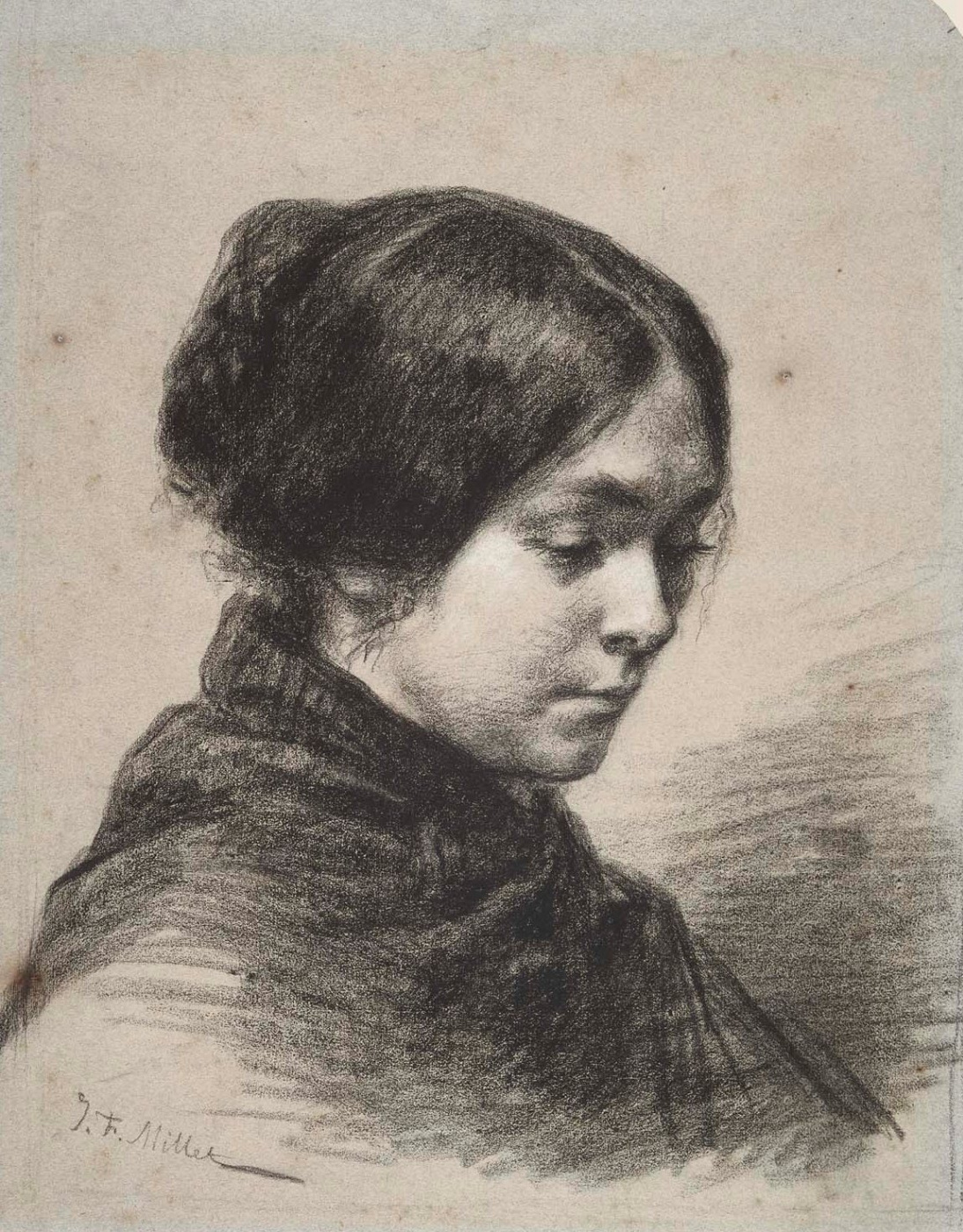Jean-François Millet. Portrait of Madame Millet (Catherine Lemaire), the artist's second wife