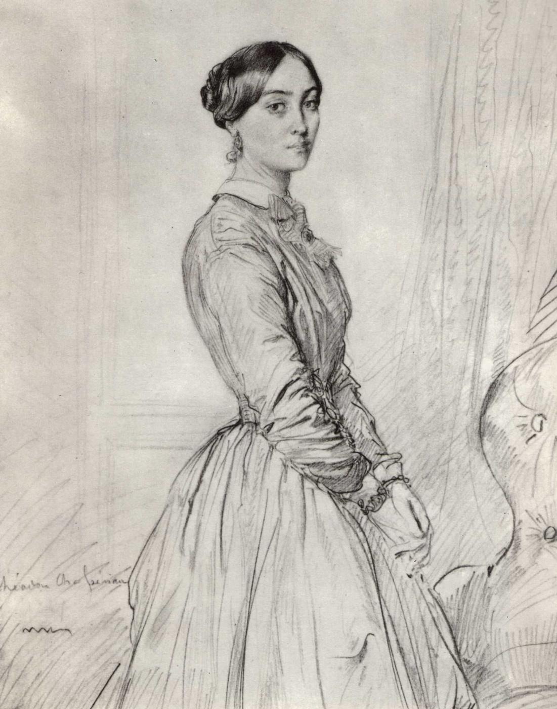 Theodore Chassiorio. Portrait of Madame Borg de Balsa