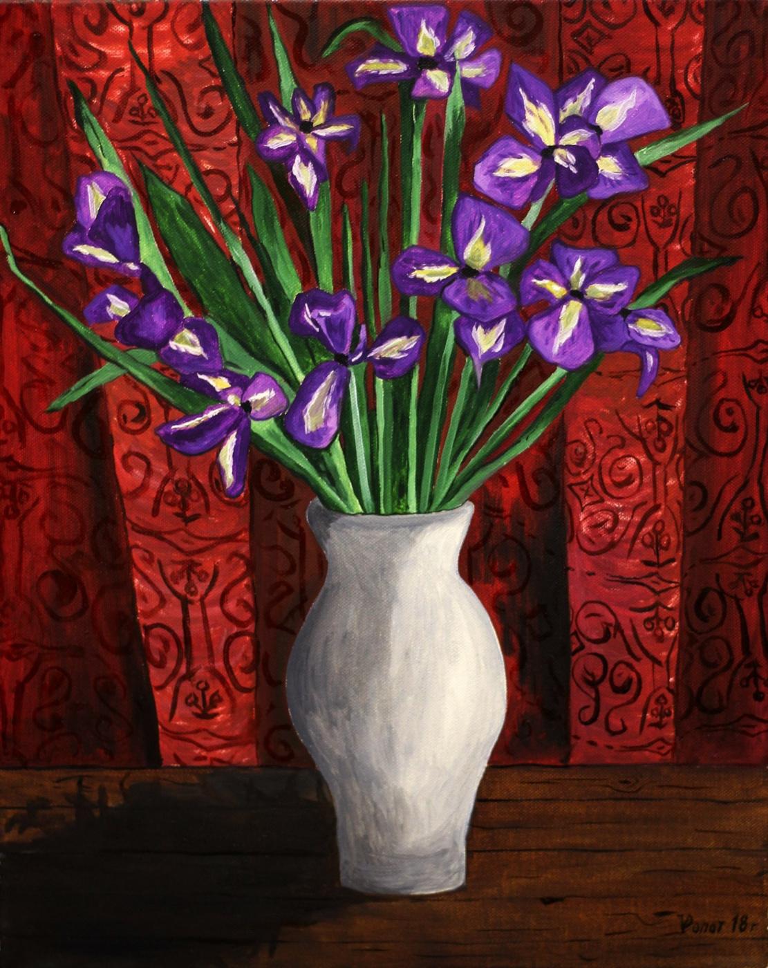 Vladimir Adamovich Ropot. Irises in a white vase