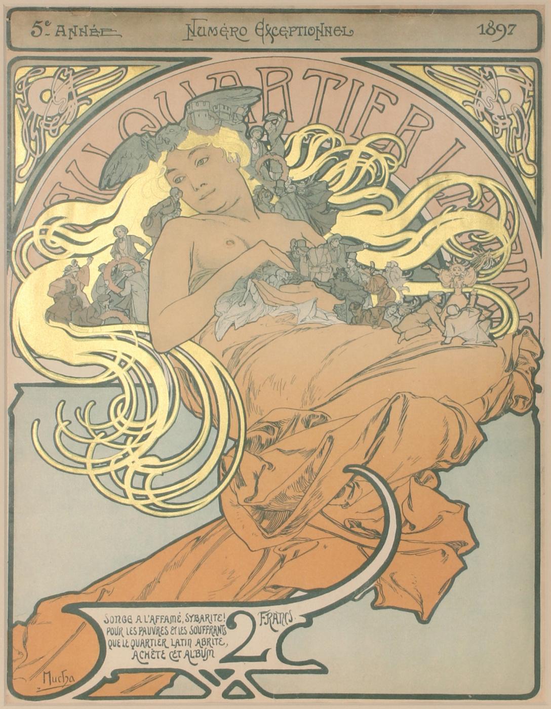 "Alphonse Mucha. Illustration for the charity issue of the magazine ""Latin Quarter"""