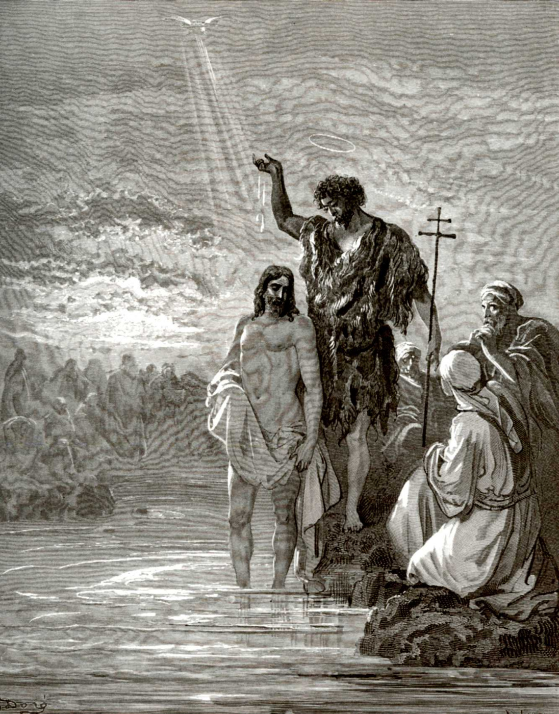 Paul Gustave Dore. Bible Illustration: Baptism