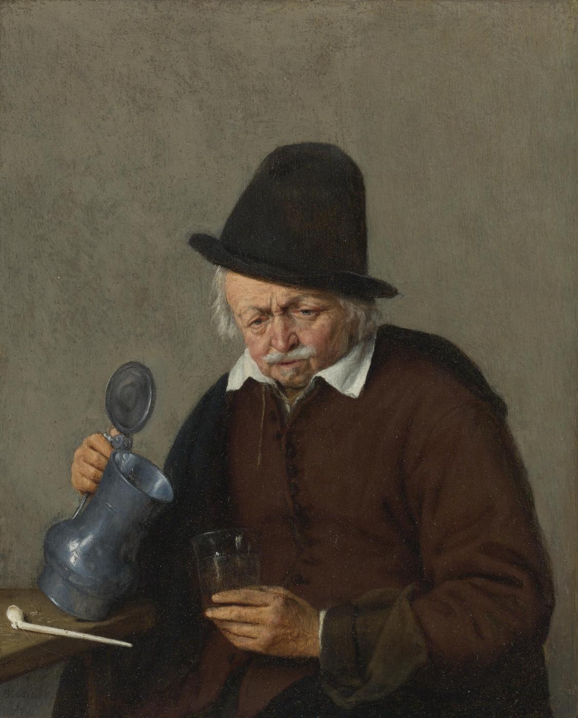 Adrian Jans van Ostade. An elderly man with a jug and a glass