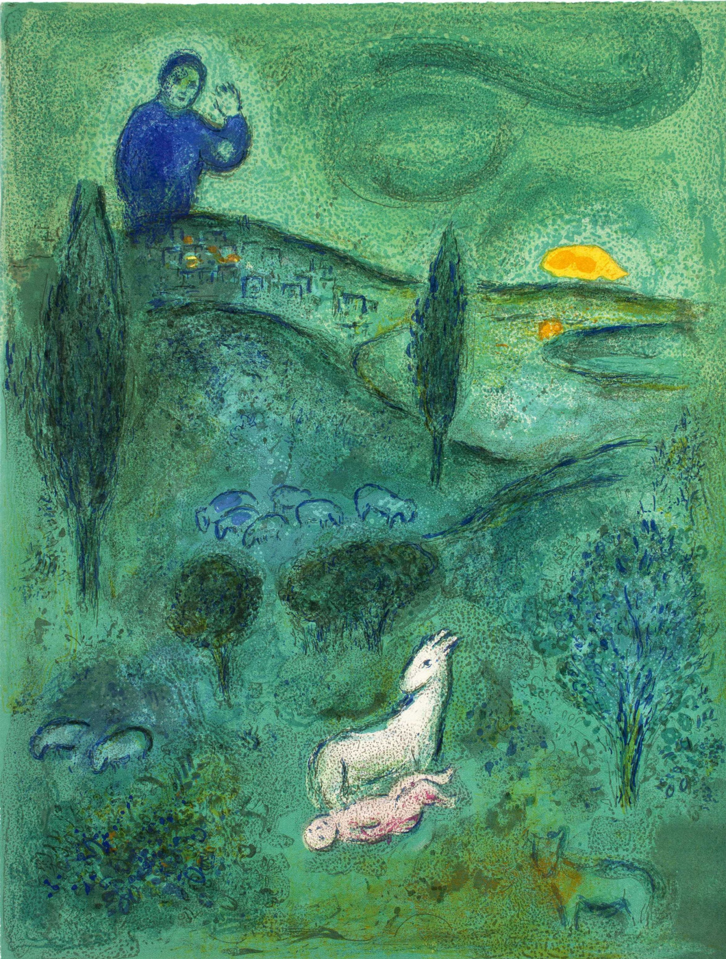 """Marc Chagall. Laymon finds Daphnis. From the series """"Daphnis and Chloe"""""""