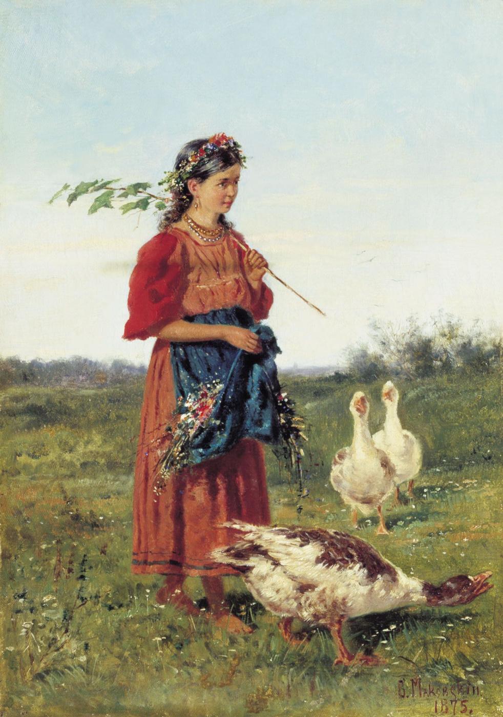 Vladimir Egorovich Makovsky. Girl with geese