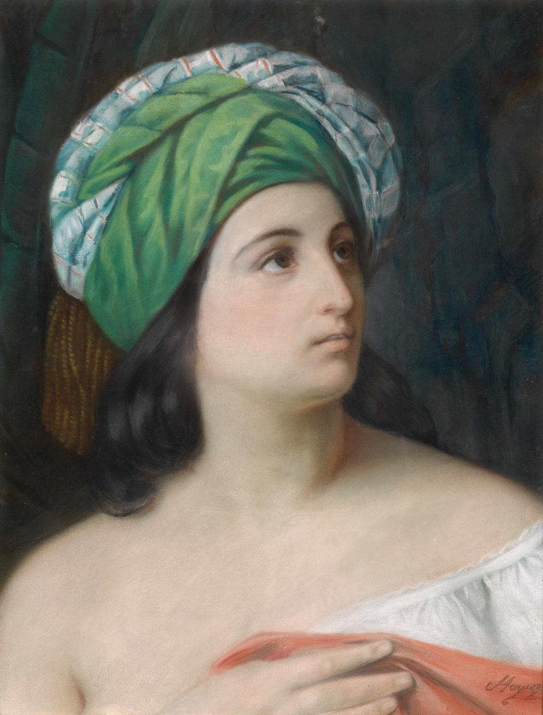 Francesco Ayets. Portrait of a girl in the eastern headdress
