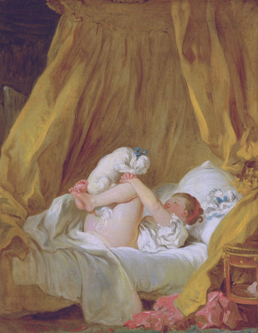 Jean-Honore Fragonard. Girl in bed playing with a dog