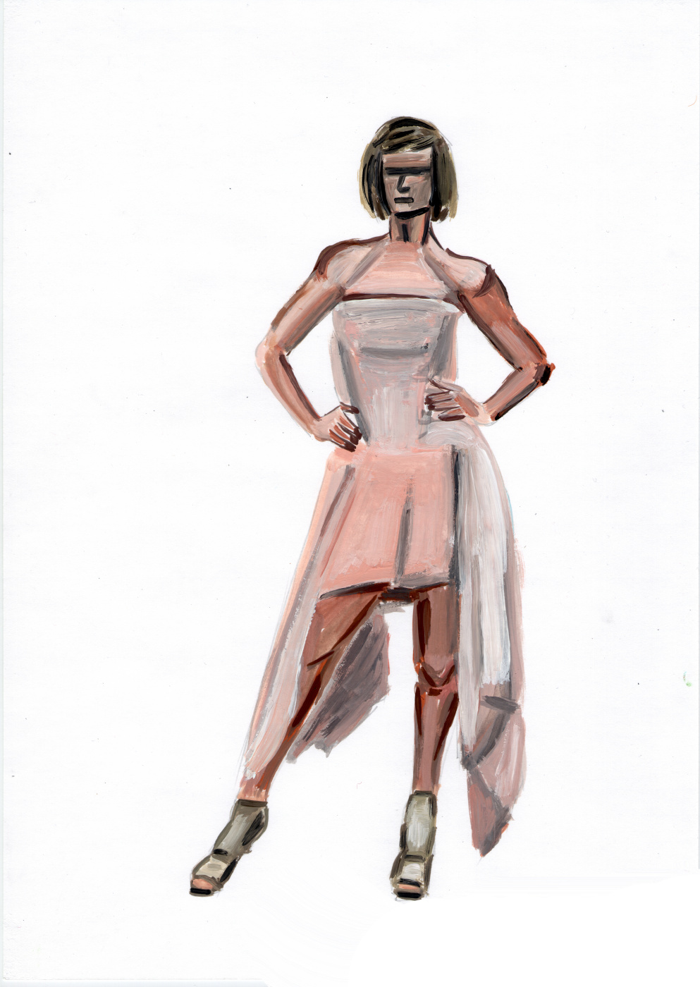 Polina. Woman in a pink dress. Etude