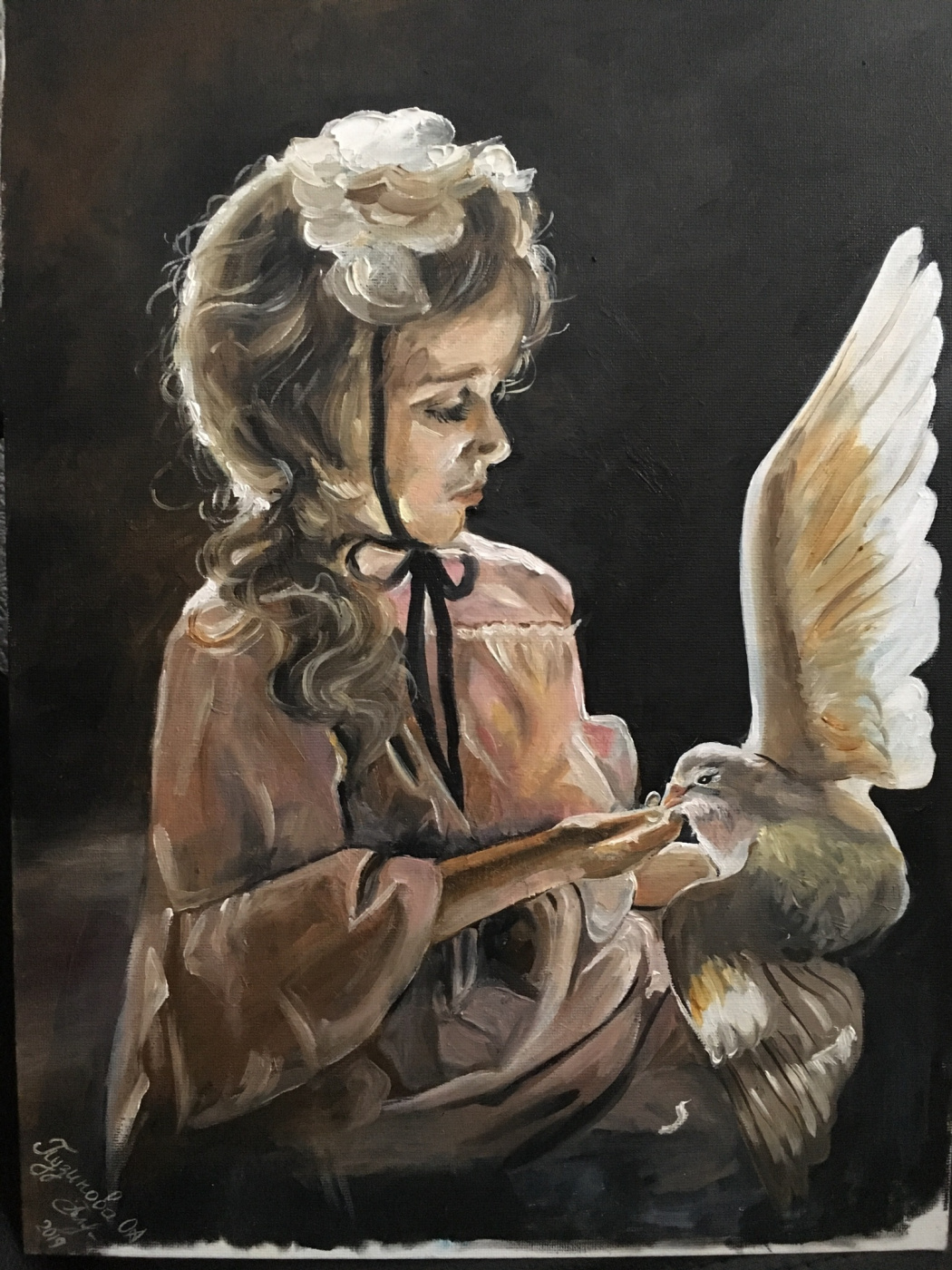 Olga Puzikova. Girl and pigeon