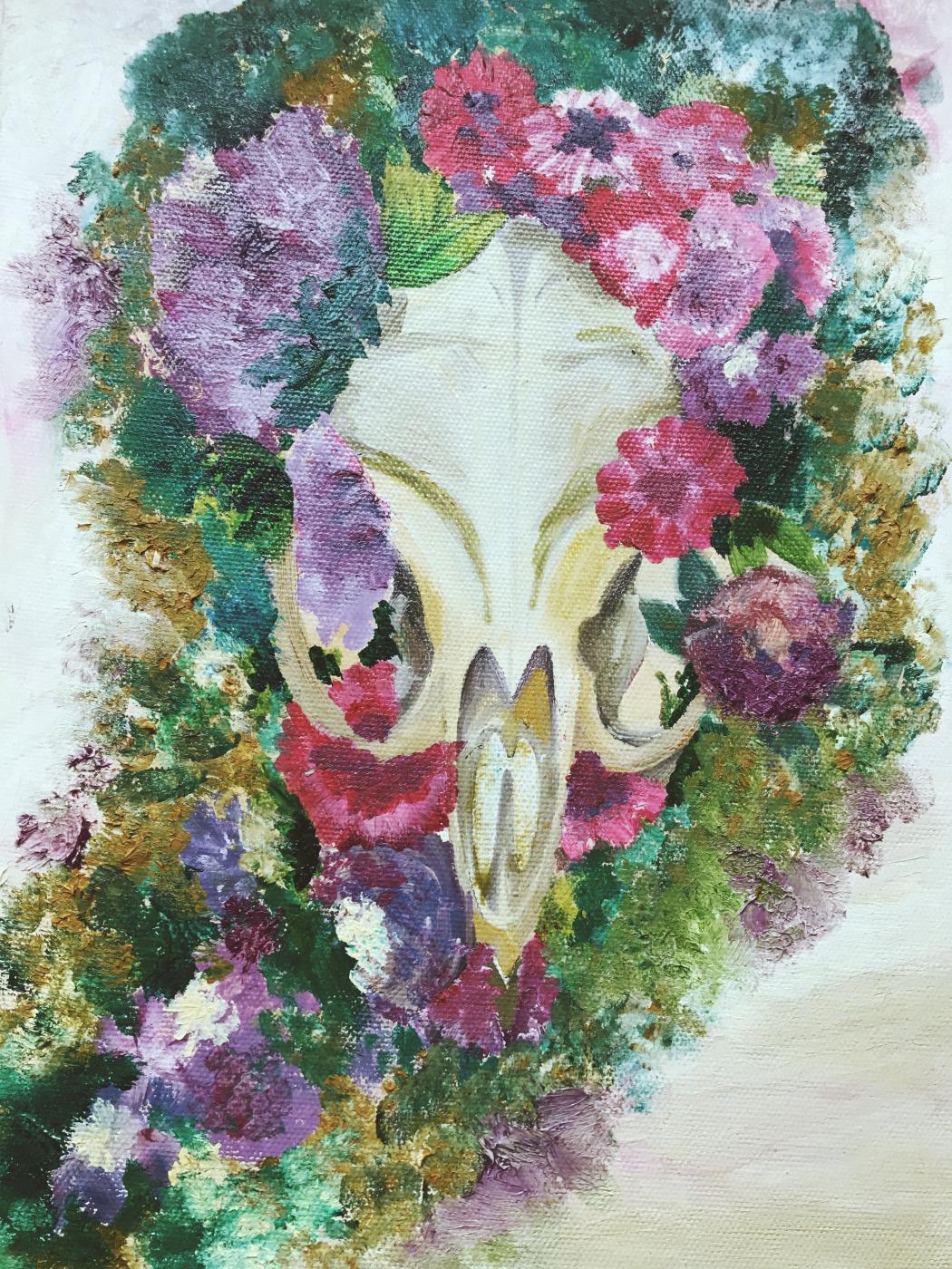 Polina Nikitina. Skull in flowers