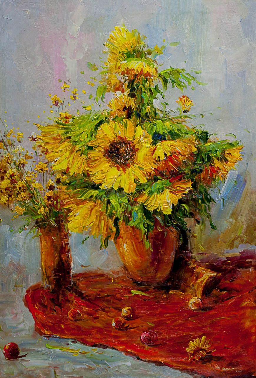 """Andrzej Vlodarczyk. Still life with oil """"Bouquet of sunflowers on a red tablecloth"""""""