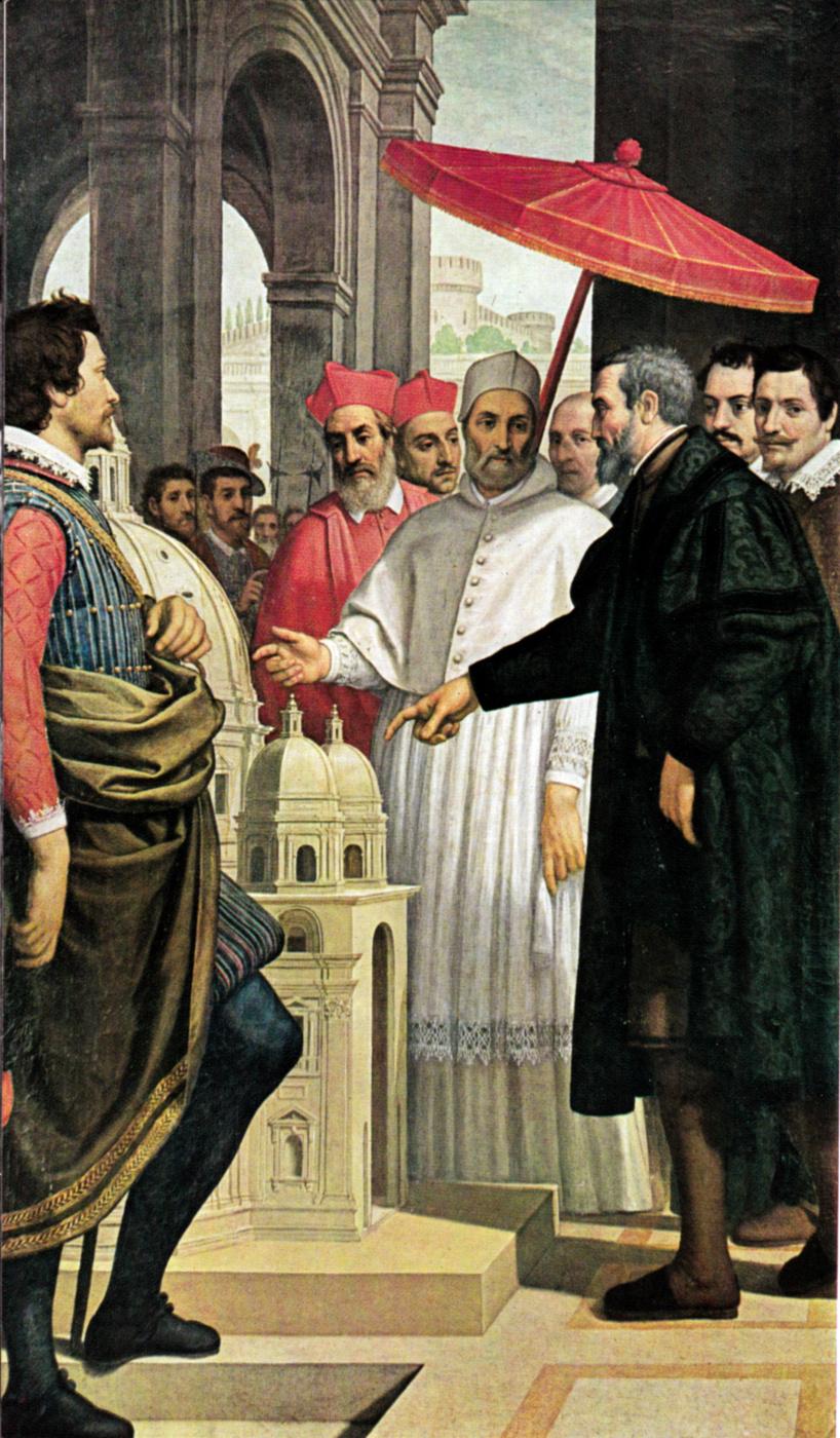 Пассиньяно (Доменико Крести). Микеланджело показывает Папе Пию модель собора Святого Петра