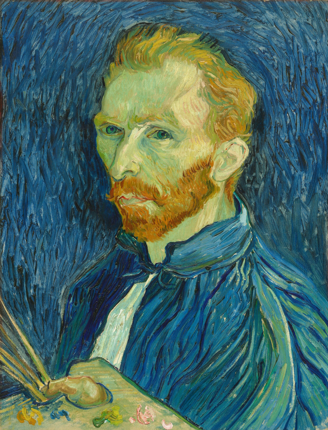 Vincent van Gogh. Self-portrait (with brushes and palette)