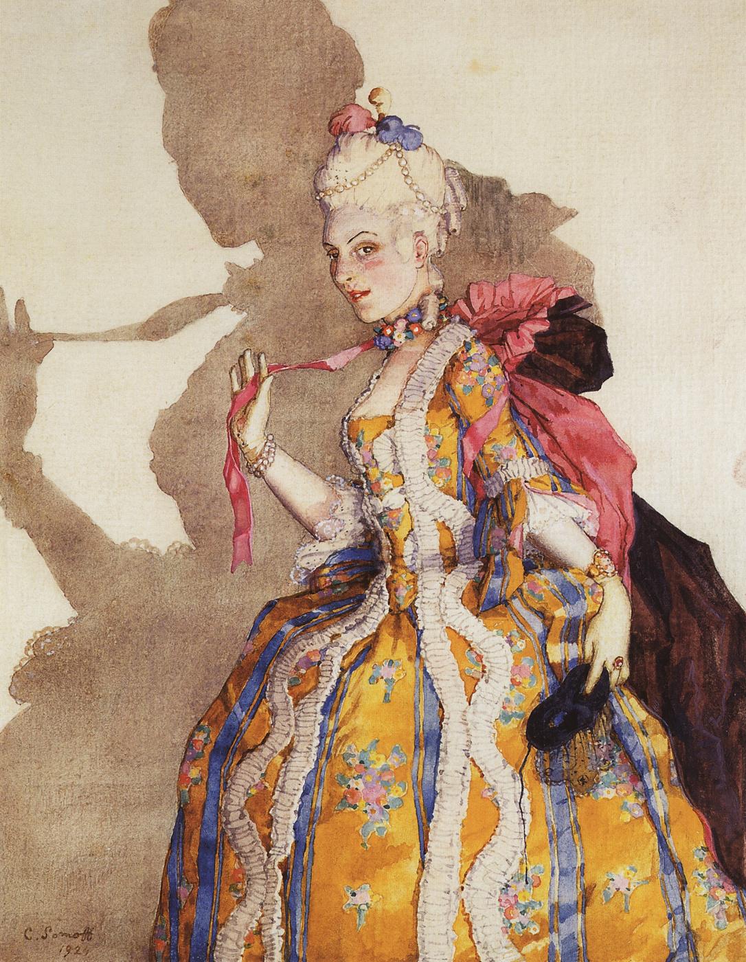 Konstantin Somov. Costume design awnings for T. P. Karsavina (a dance to the music of Mozart)
