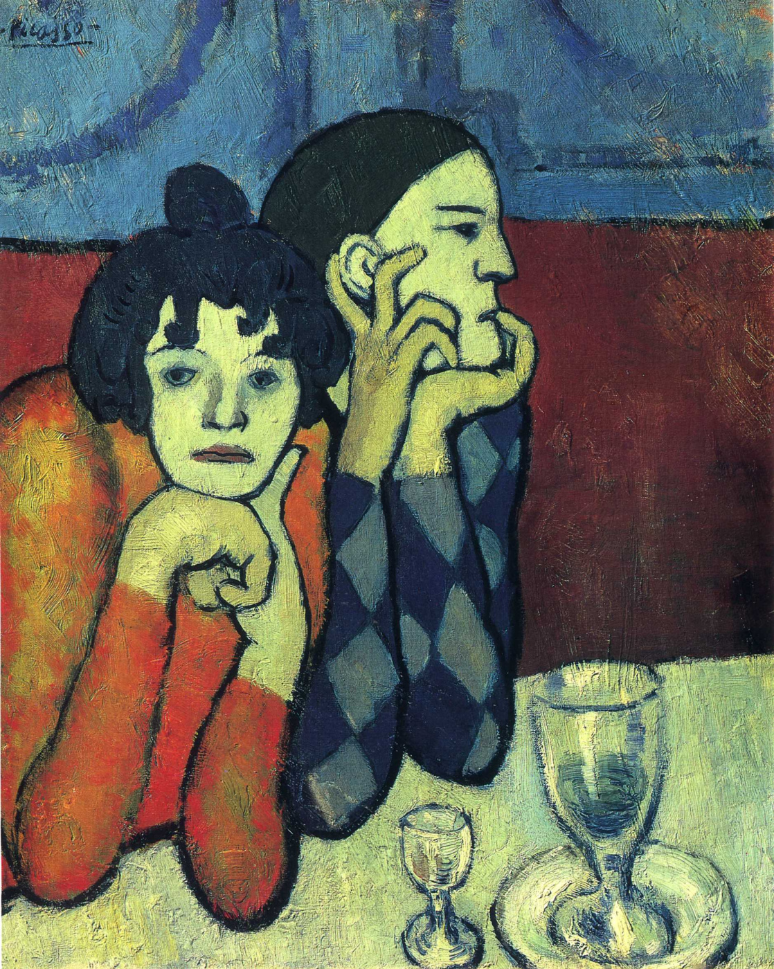 Pablo Picasso. Two acrobats (Harlequin and his companion)