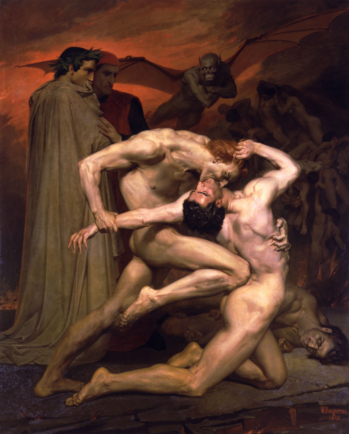 William-Adolphe Bouguereau. Dante and Virgil in Hell