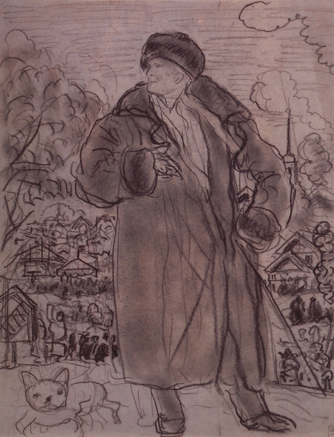 Boris Kustodiev. Portrait Of Fyodor Chaliapin. Sketch