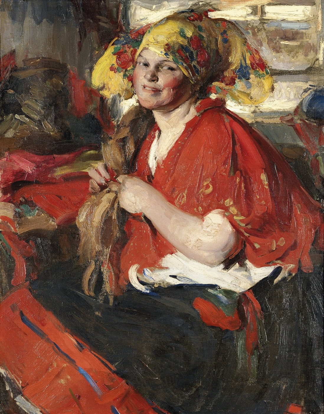 Abram Arkhipov. Peasant Woman in Red Shawl
