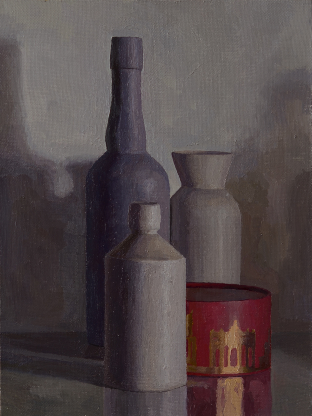 Pavel Viktorovich Petrov. Still life with bottles and red box