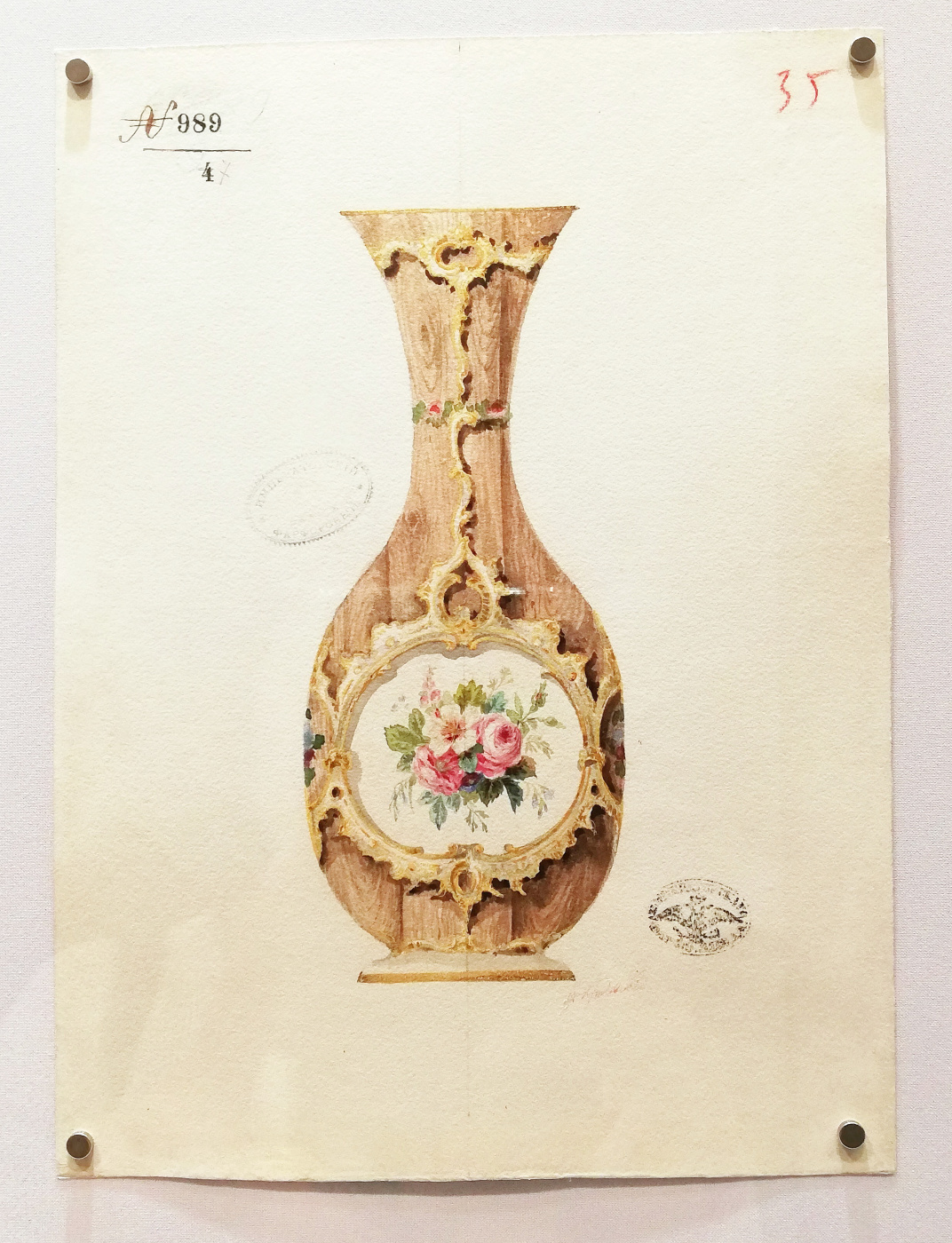 """Fedor Ivanovich Krasovsky. Sketch of a porcelain vase with painting """"under the tree"""""""