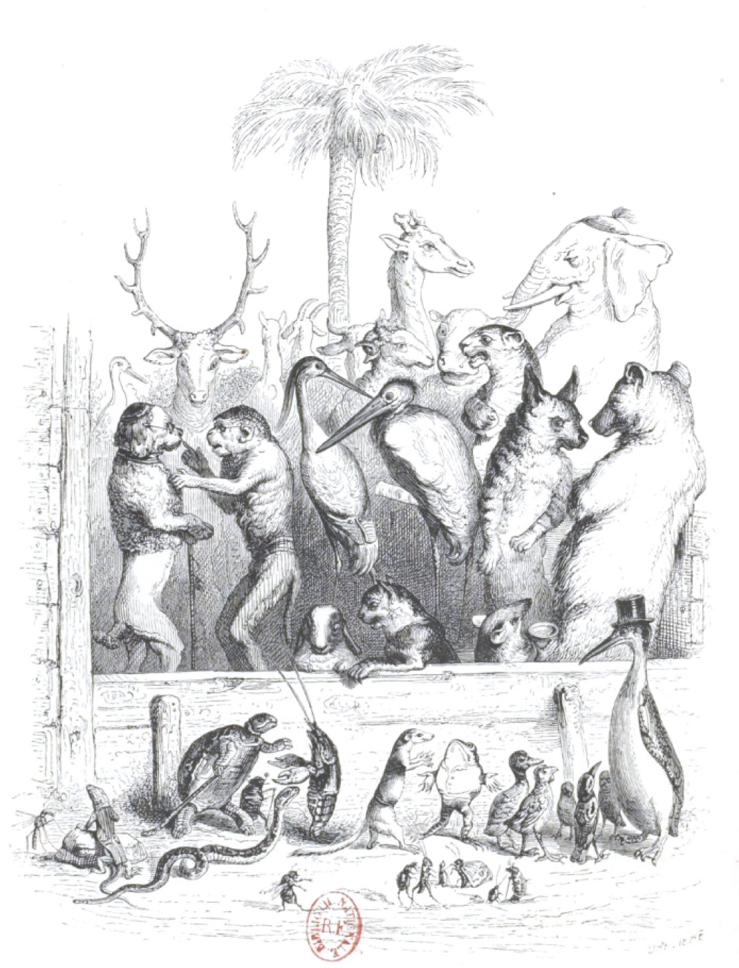 """Jean Inias Isidore (Gerard) Granville. Lively conversation. """"Scenes of public and private life of animals"""""""