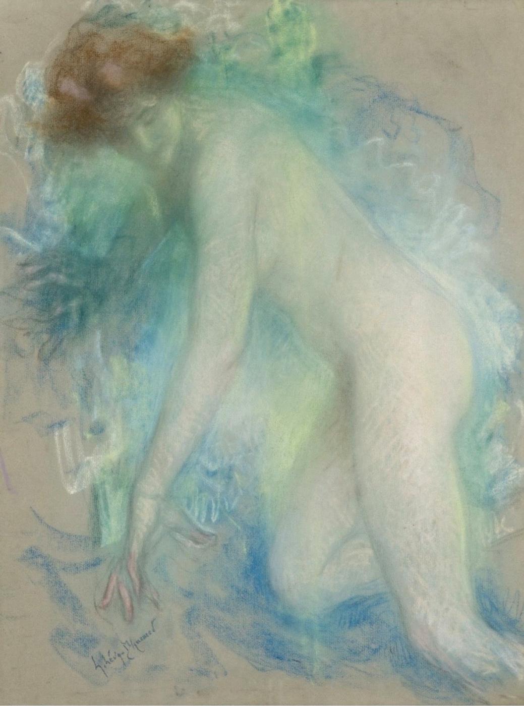 Lucien Levi-Durme. Nude on a chair.