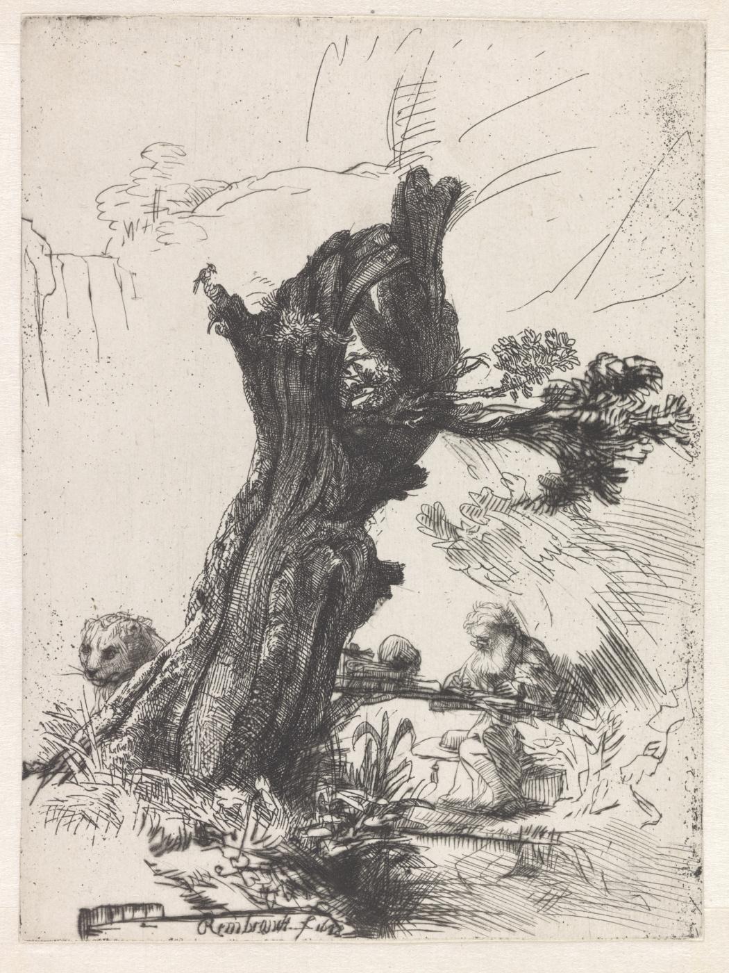 Rembrandt Harmenszoon van Rijn. St. Jerome under a willow tree