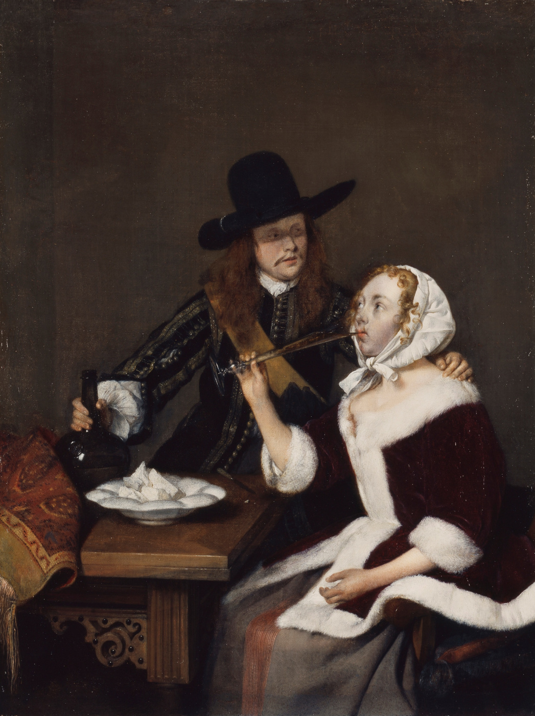 Gerard Terborch (ter Borch). Cavalier forcing the lady to drink