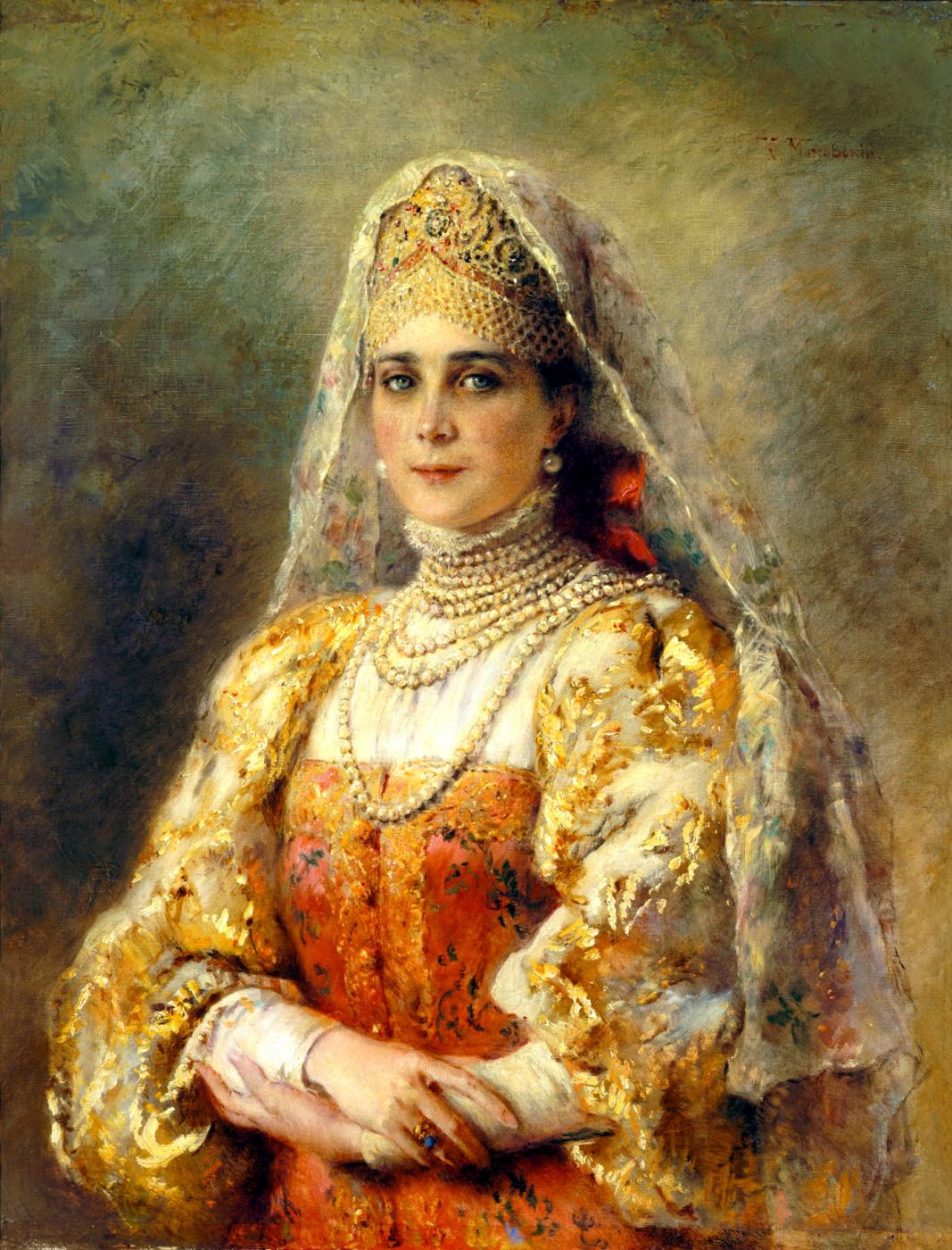Konstantin Makovsky. Portrait of Princess Zinaida Nikolaevna Yusupova in Russian costume