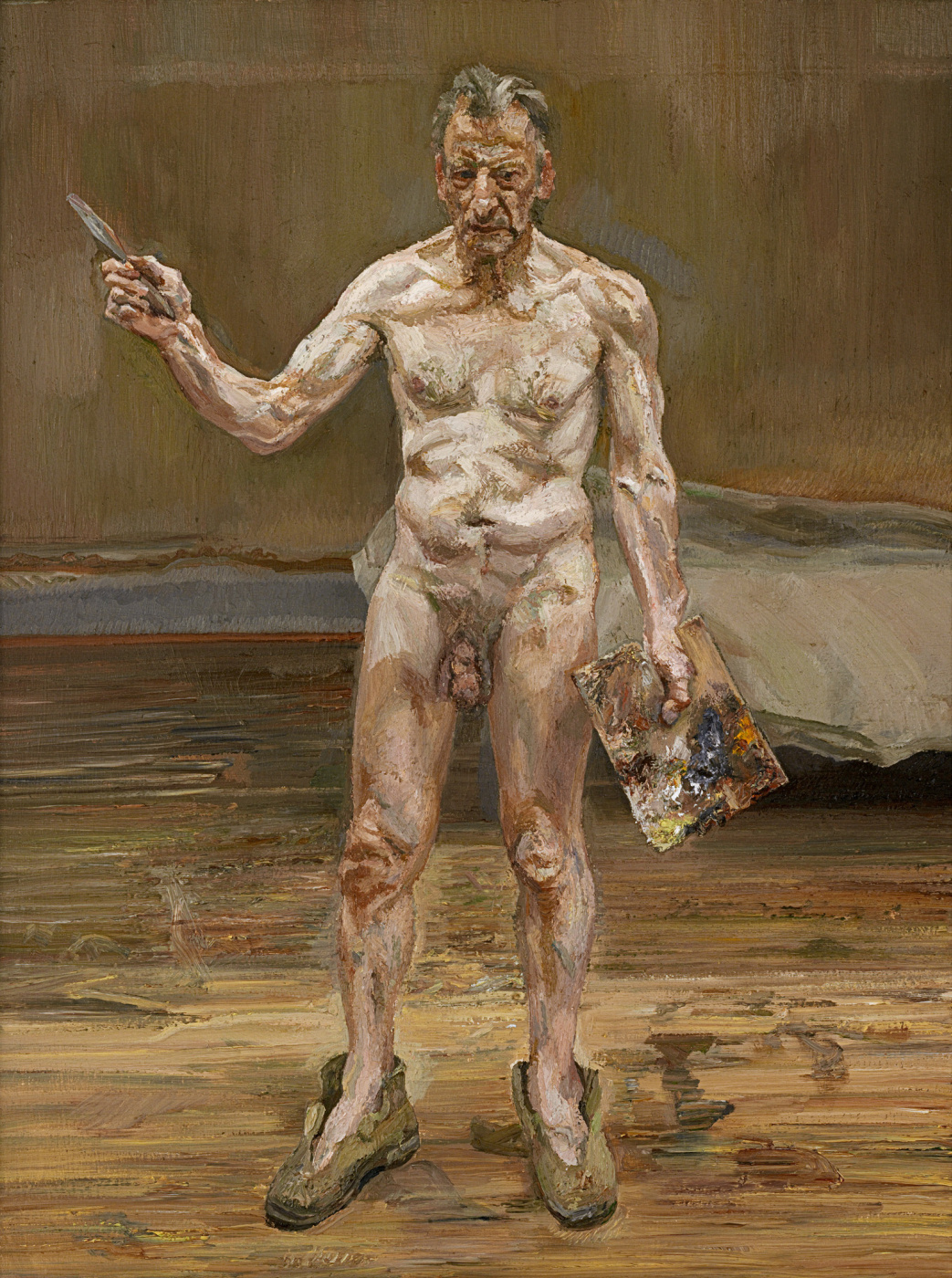 Lucien Freud. Artist at work, reflection