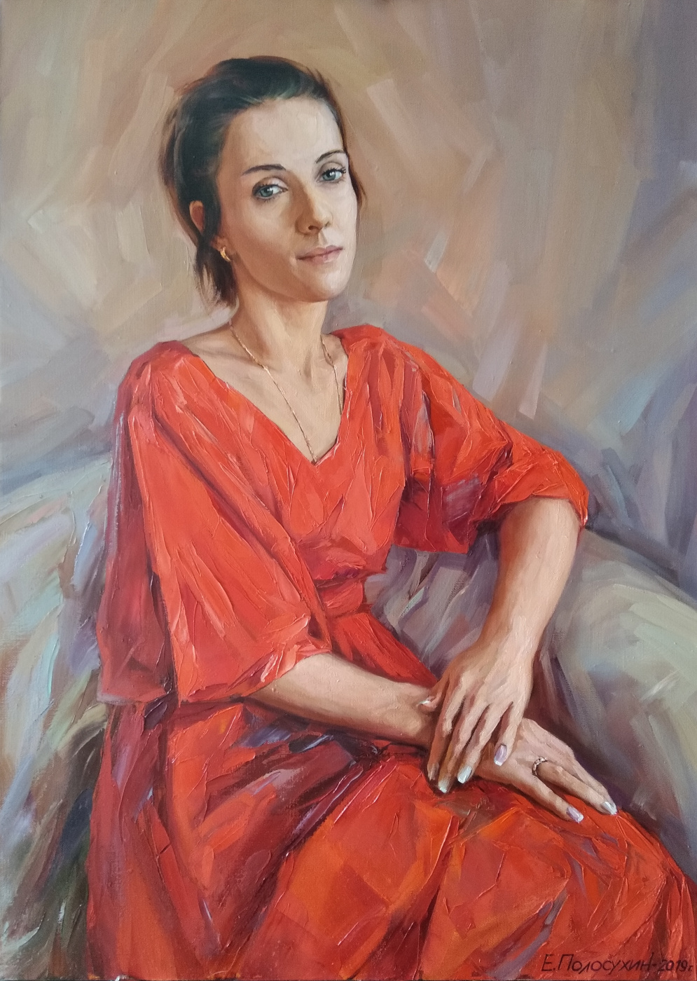Evgeny Fedorovich Polosukhin. Portrait of a lady in red.