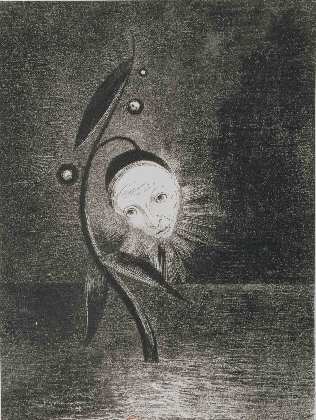 Odilon Redon. The Marsh Flower, a Sad Human Head
