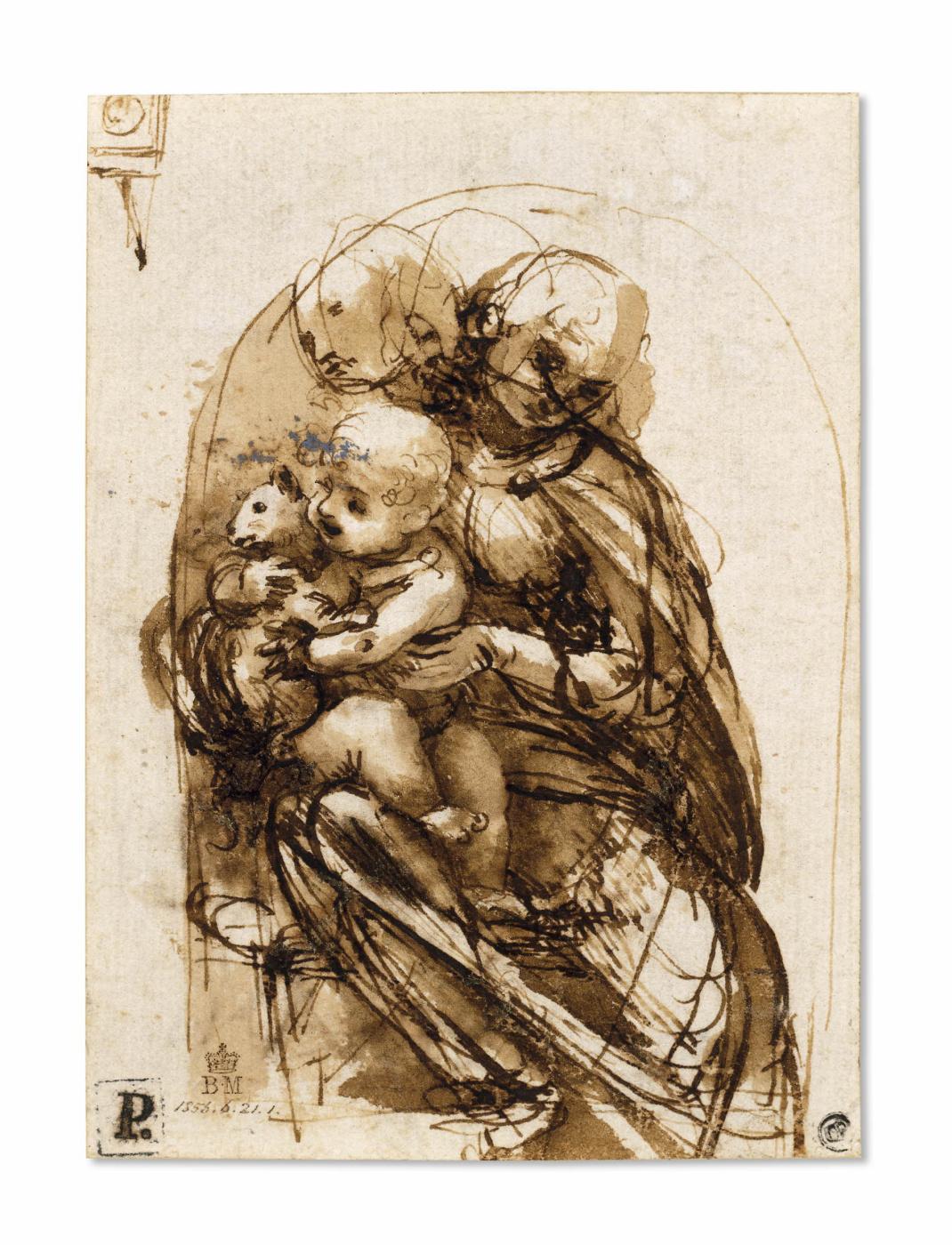 Leonardo da Vinci. Madonna and child with a cat (sketch)