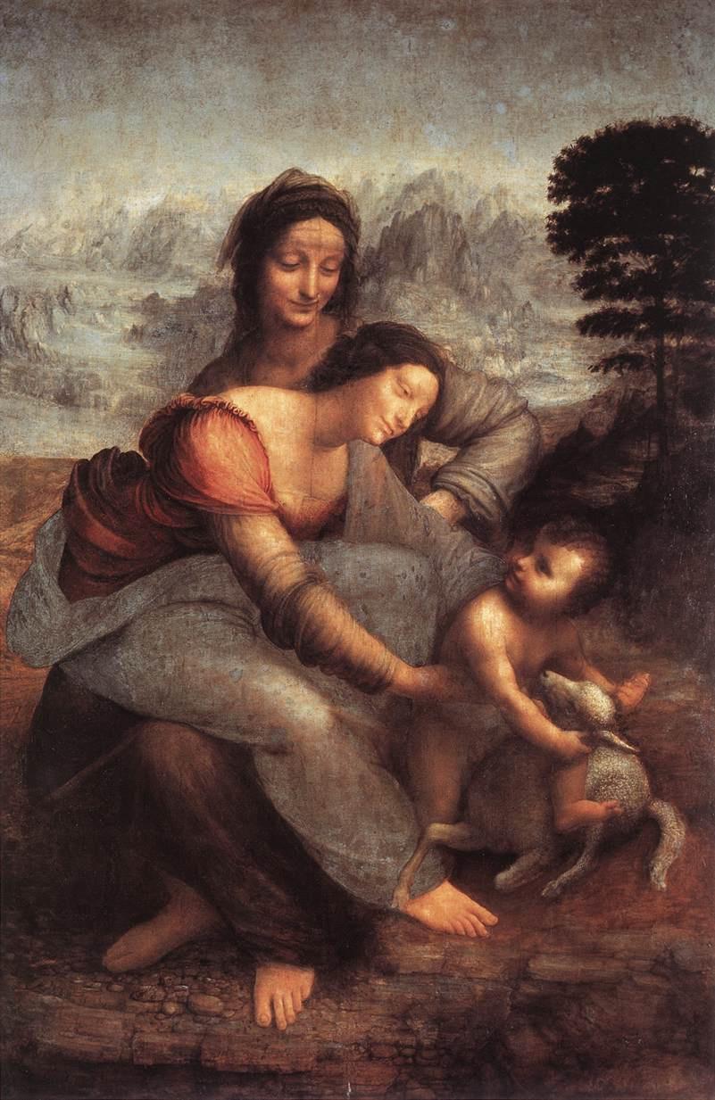 Леонардо да Винчи. Мадонна с младенцем и Святой Анной
