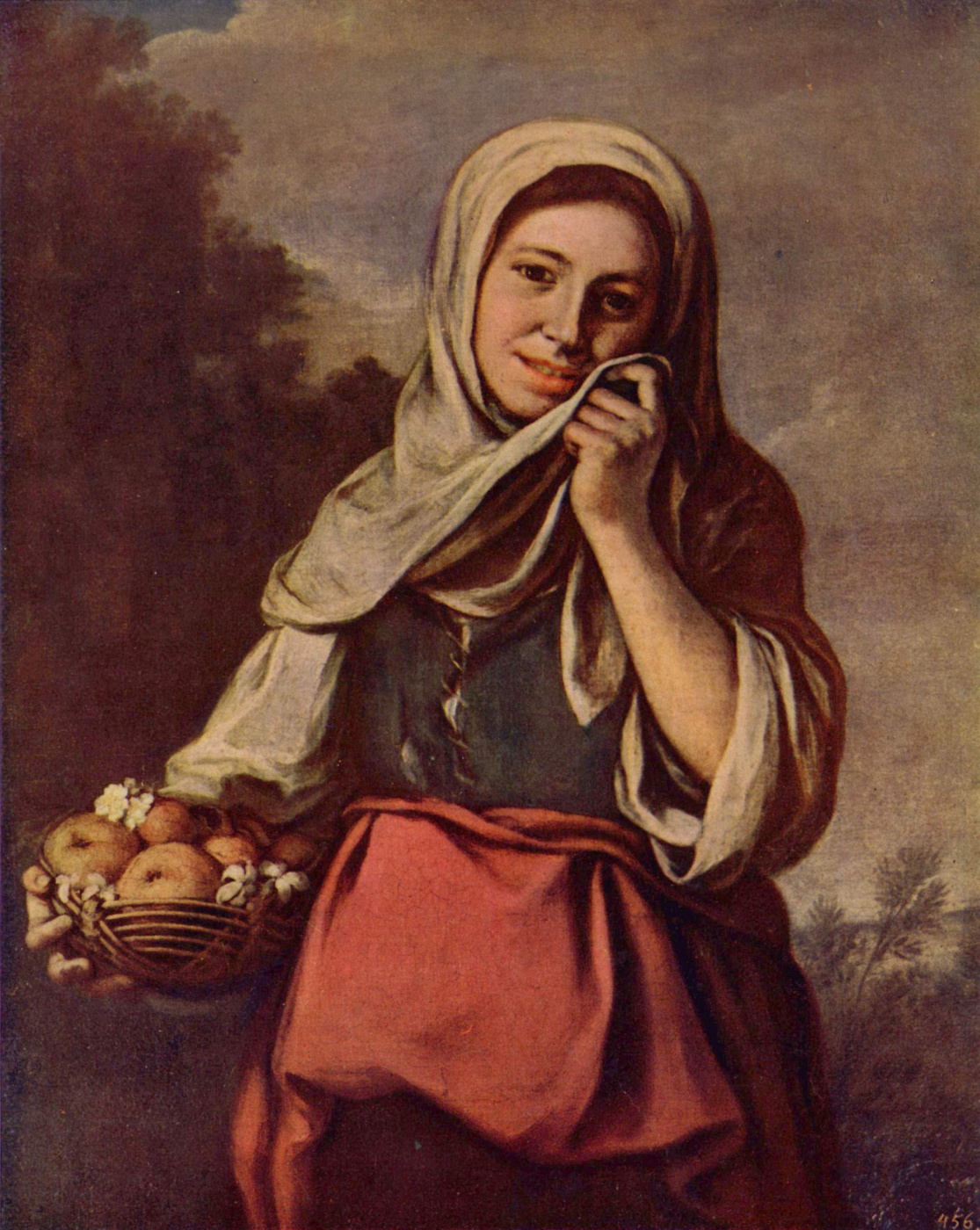 Bartolomé Esteban Murillo. Girl with fruit and flowers