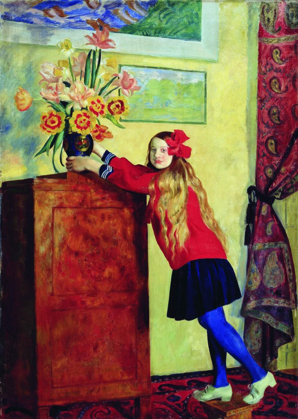 Boris Kustodiev. Girl with flowers
