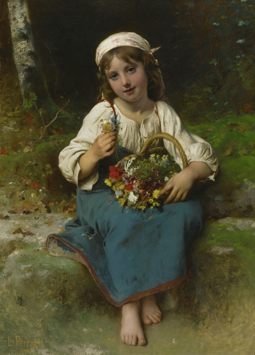 Leon Basile Perrot France 1832-1908. A girl with a basket of flowers. 1880
