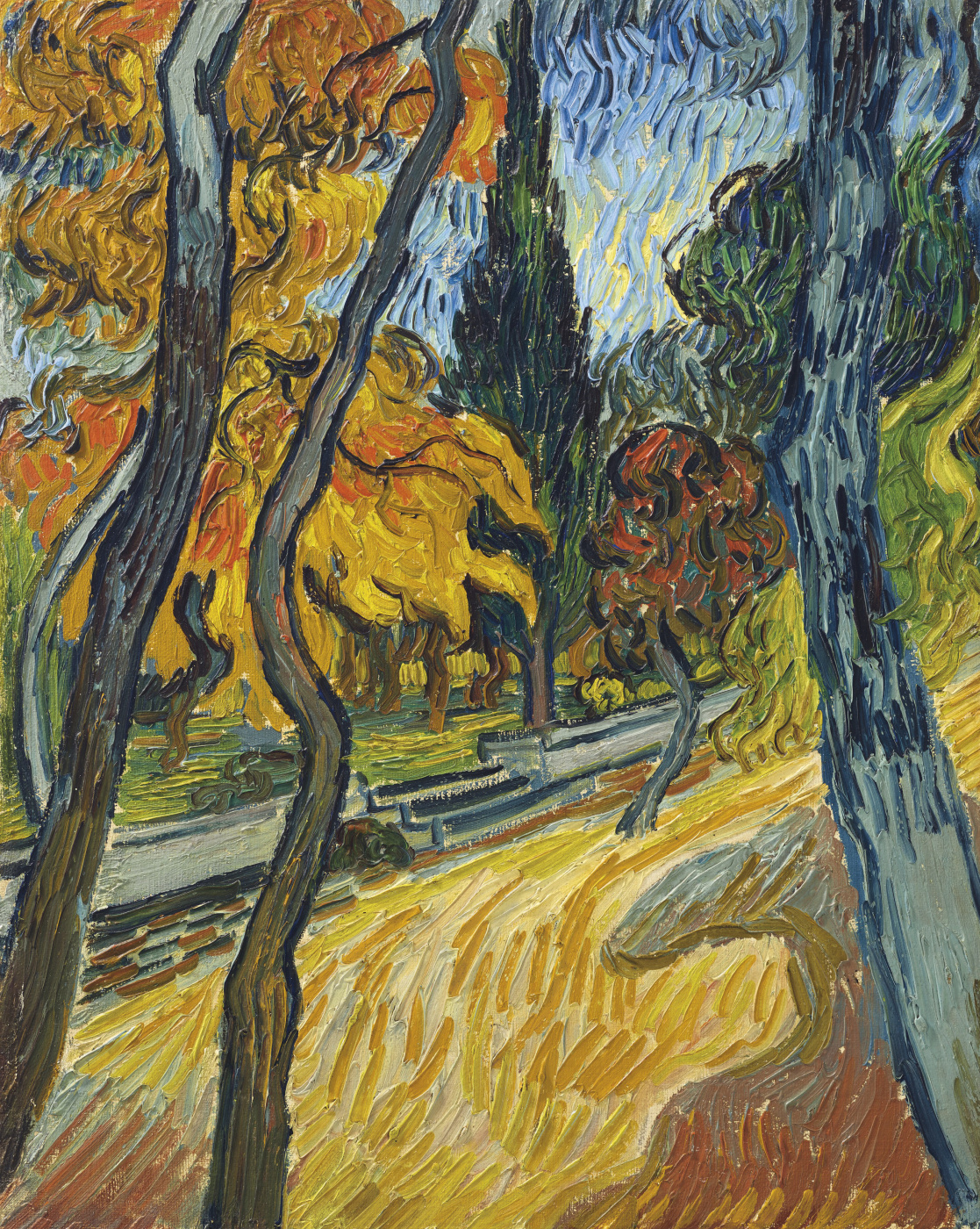 Vincent van Gogh. Trees in a shelter garden