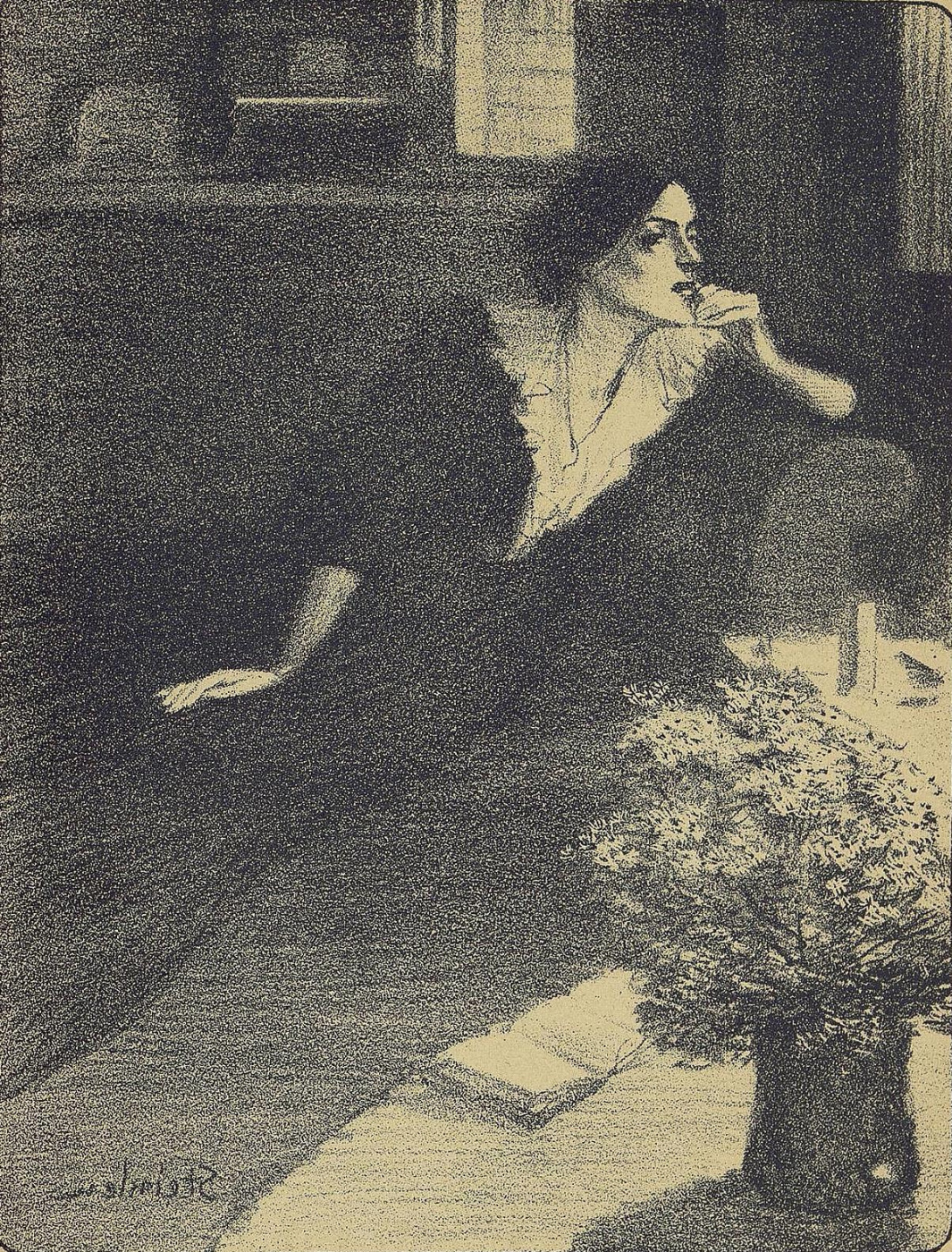"""Theophile-Alexander Steinlen. A """"Twilight song."""" Illustration to the book by P. Delmas, """"Female songs"""""""