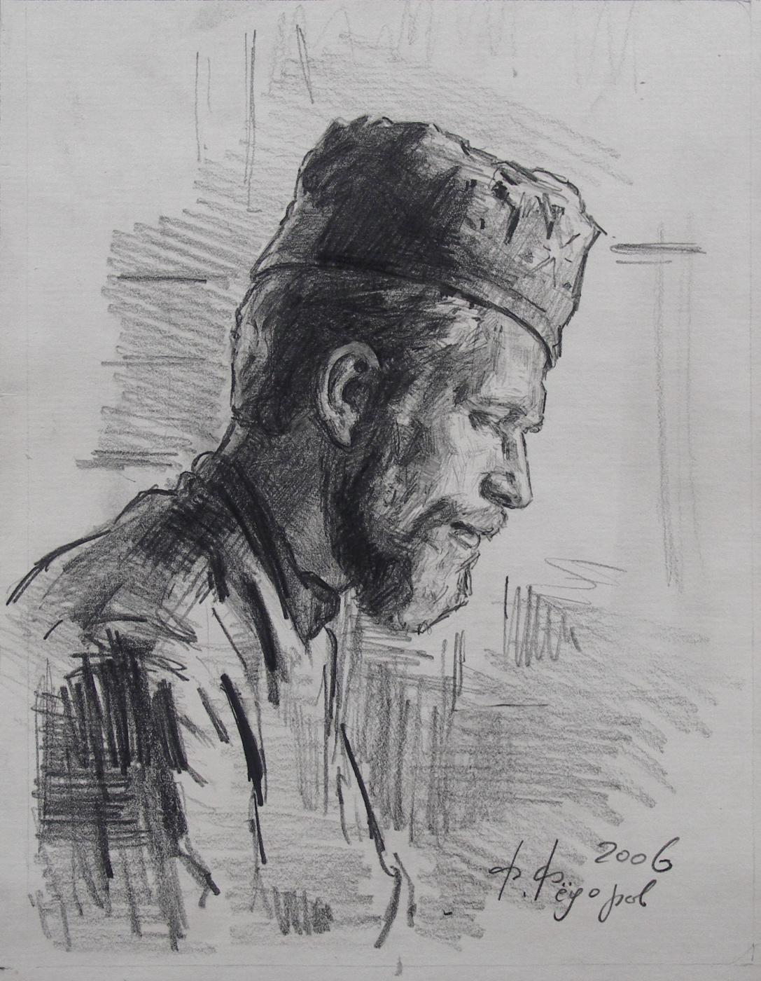 "Фёдор Борисович Фёдоров. Portrait of Ilya Pivnik. Drawing for the painting ""Icon painter Ilya"""