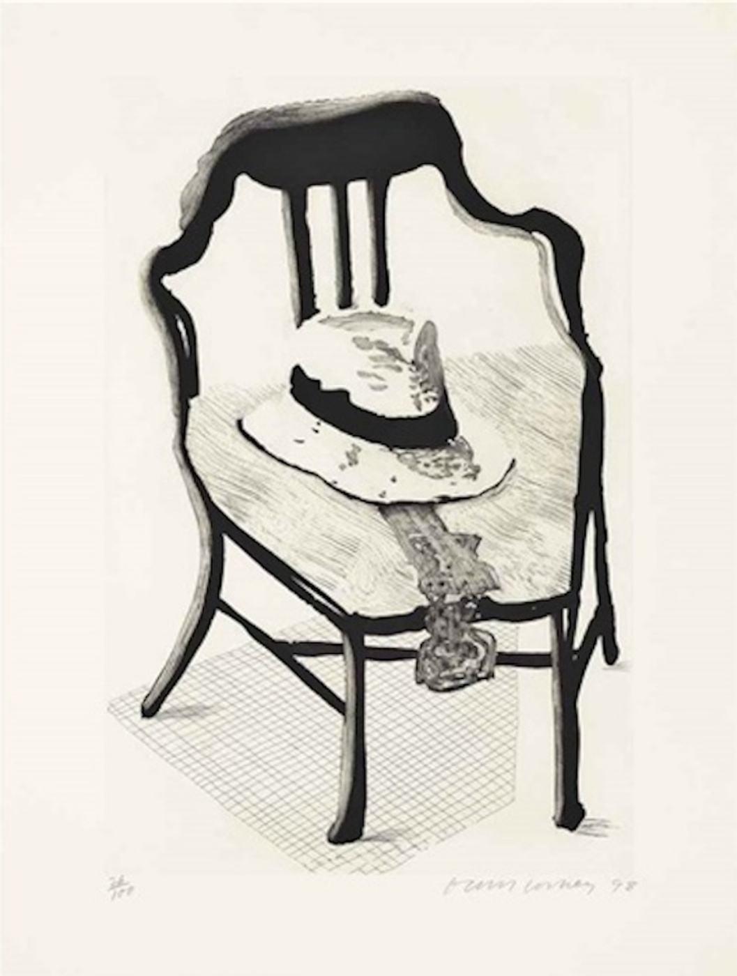 David Hockney. Hat with a bow tie on a chair