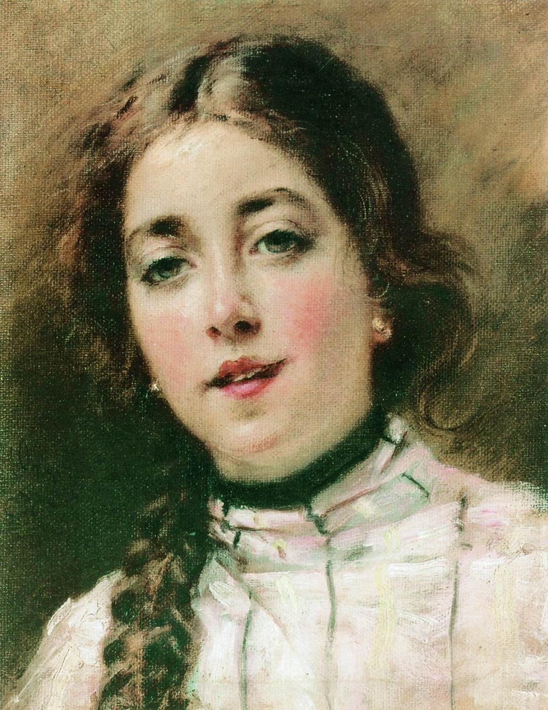 Konstantin Makovsky. Portrait of the artist's daughter. Olenka