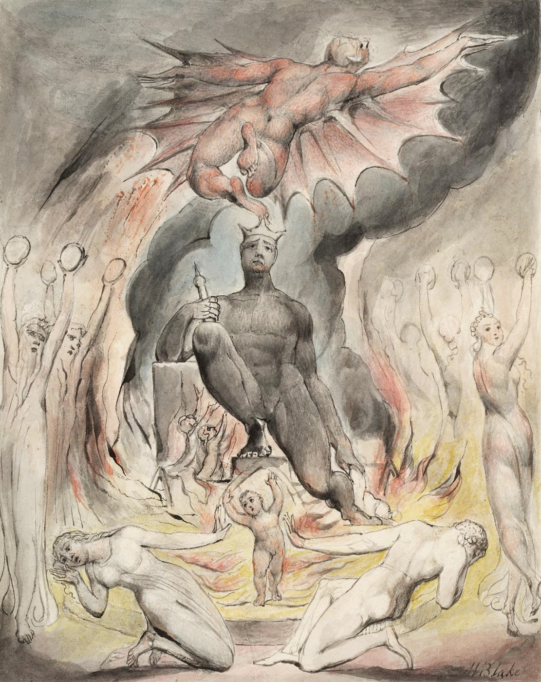 """William Blake. The Flight Of Moloch. Illustration for the poem by Milton """"On the morning of Christ's Nativity"""""""