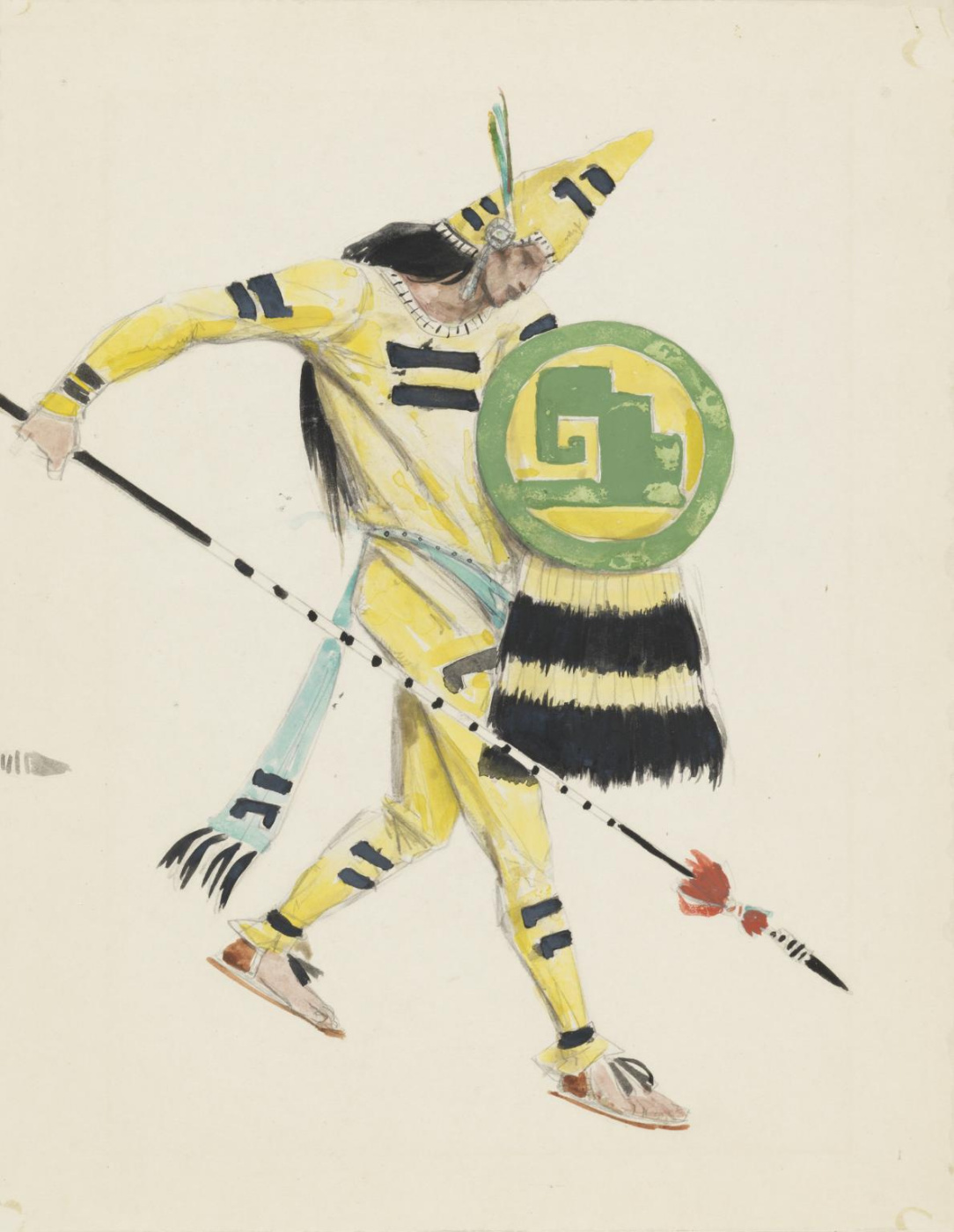 "Charles Ricketts. Warrior. Design for the opera ""Montezuma"""