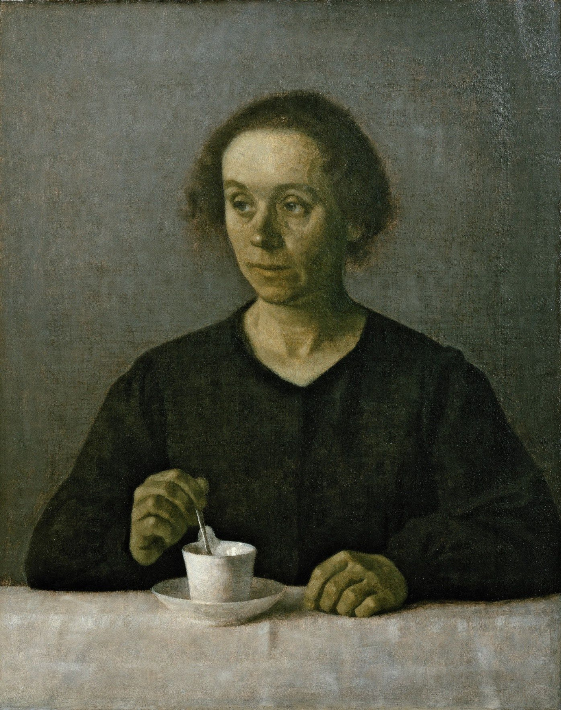Vilhelm Hammershøi. Portrait of Ida Hammershoy with a cup of tea