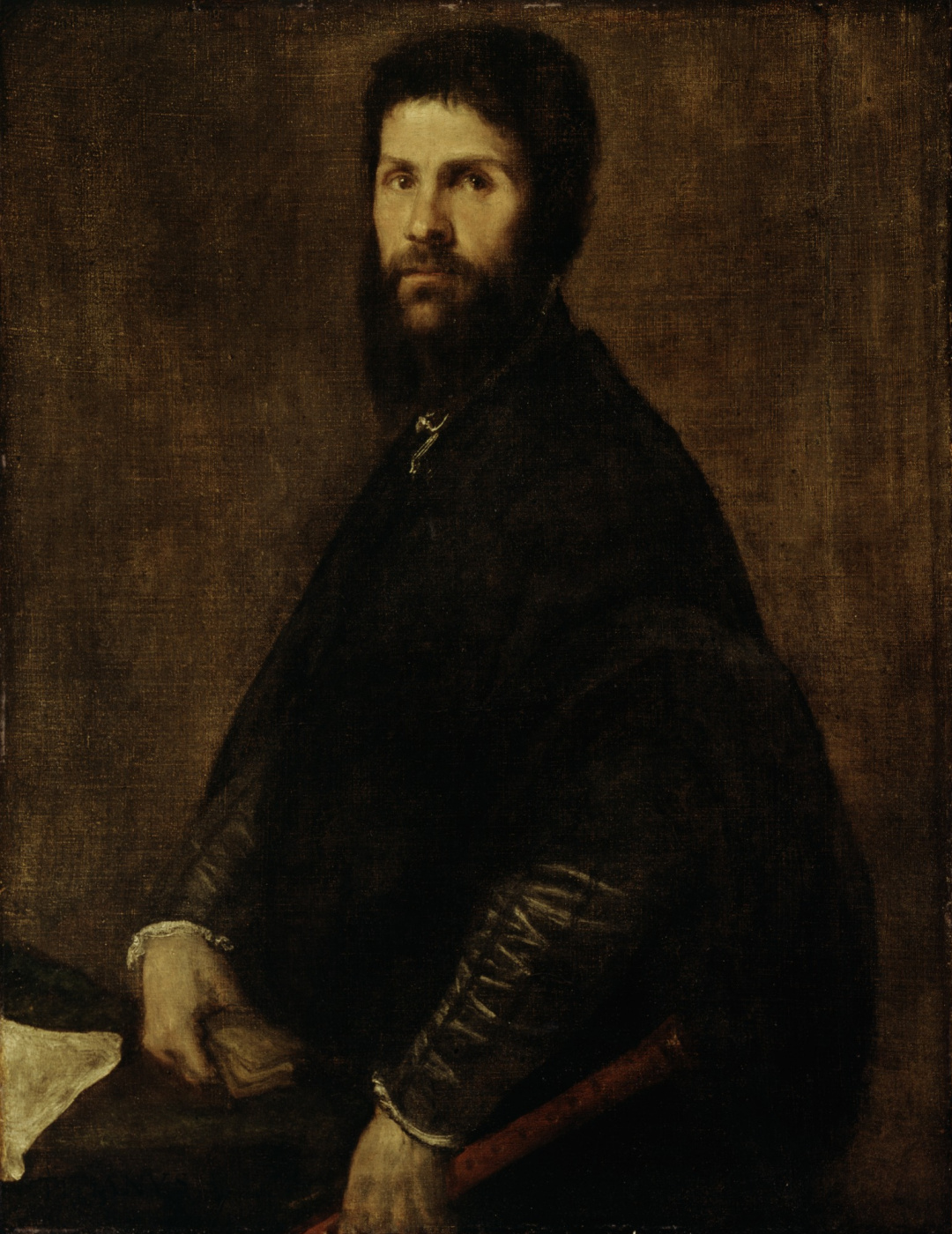 Titian Vecelli. Portrait of a man with a flute