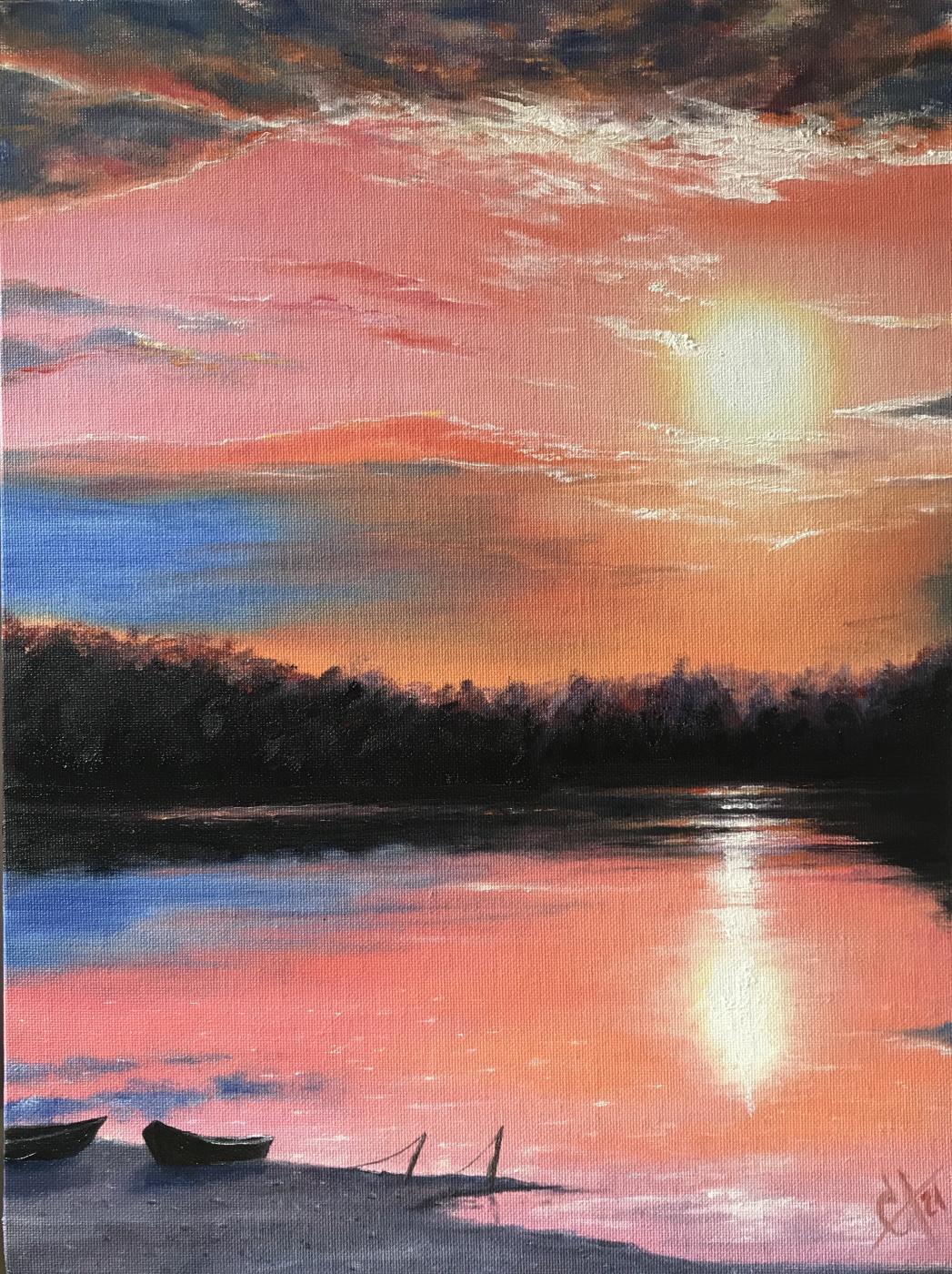 Svetlana Arkhipova. Sunset on the lake