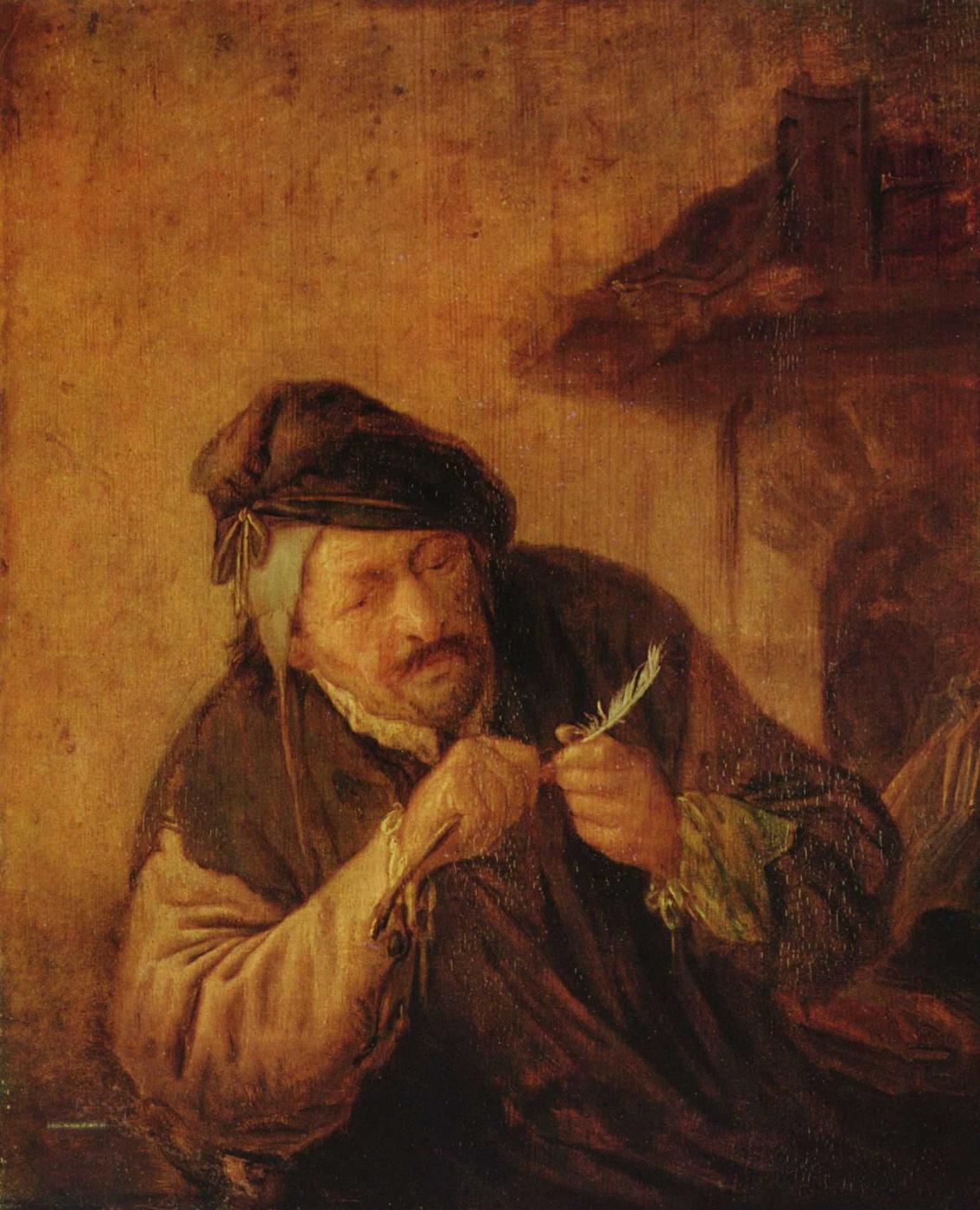 Adrian Jans van Ostade. A man sharpening a pen