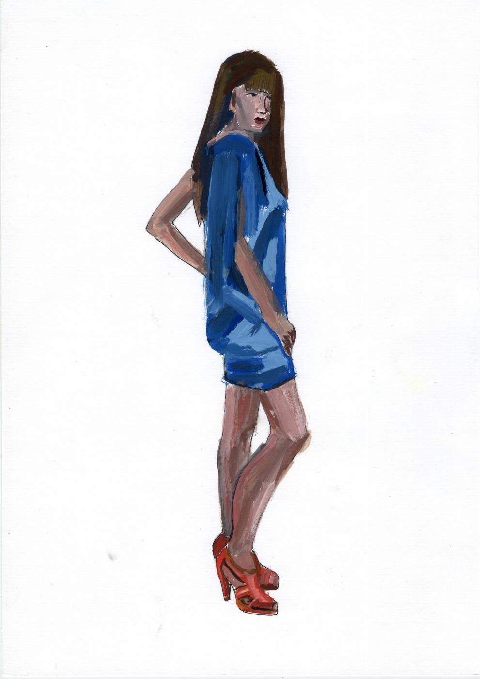 Polina. Woman in blue dress. Etude